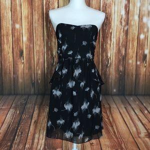Akualani Black Floral Gray Layered Strapless Dress
